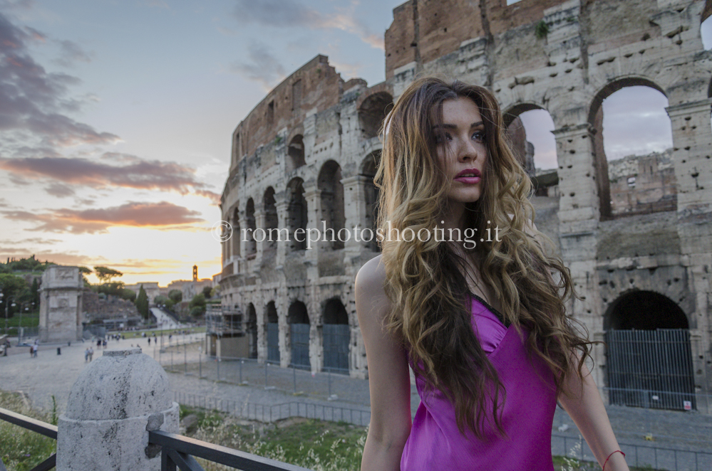 Fashion model at sunset in Colosseum
