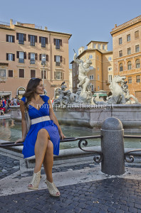 fashion model in Navona Square Rome